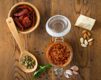 Pesto with dry tomatoes and almonds Royalty Free Stock Photos