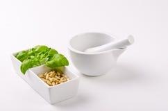 Pesto e almofariz Foto de Stock