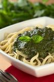 Pesto en el espagueti Fotos de archivo