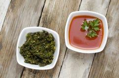 Pesto en tomatensaus Royalty-vrije Stock Foto