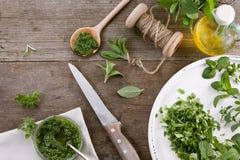 Pesto fait maison de diverses herbes Photographie stock libre de droits