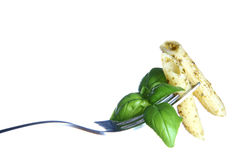 Pesto on a fork Stock Photo