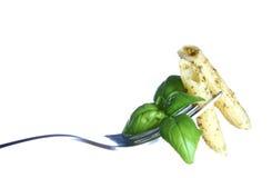 Pesto on a fork Stock Photo