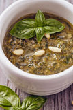 Pesto genovese. With basil and pine nut Royalty Free Stock Photo