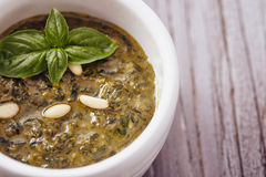 Pesto genovese. With basil and pine nut Royalty Free Stock Photos