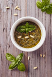 Pesto genovese. With basil and pine nut Royalty Free Stock Images