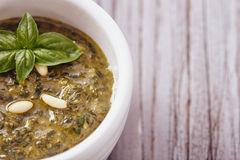 Pesto genovese. With basil and pine nut Royalty Free Stock Photography