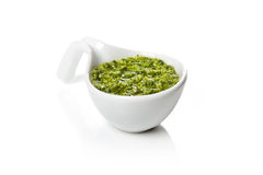 Pesto Genovese in a gravy boat Royalty Free Stock Photo
