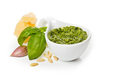 Pesto Genovese and ingredients. Close-up Stock Photos