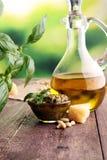 Pesto genovese - tradycyjny włoszczyzny zieleni basilu kumberland z sosną Zdjęcie Royalty Free