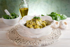 Pesto gnocchi Royalty Free Stock Images