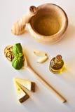 Pesto ingredienser Arkivfoton