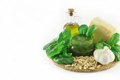 Pesto and ingredients Royalty Free Stock Image