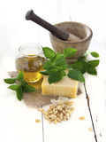 Pesto ingredients. Italian pesto ingredients: parmegiano regiano, basil, olive oil and pine nuts with mortar and pestle royalty free stock photos