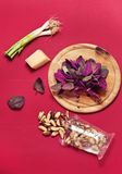 Pesto ingredients. Red garden orache pesto ingredients Stock Photography