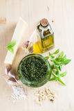 Pesto with ingredients Royalty Free Stock Photography