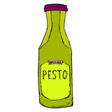 Pesto jar. Hand drawn sketch illustration. Pesto bottle Isolated. On white Royalty Free Stock Image
