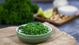 Pesto from kale. Kale, cheese, lemon, pine nuts and garlic on the background Stock Photo