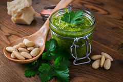 Pesto with parsley and almonds Stock Image