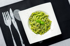 Pesto pasta from above. Stock Photos