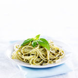 Pesto pasta with basil shot with copy space Stock Image