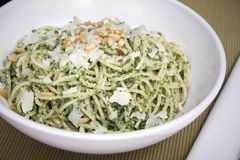 Pesto Pasta with Pine Nuts Stock Photos