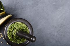 Pesto preparado en el mortero Foto de archivo libre de regalías