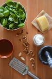 Pesto såsingredienser Royaltyfria Bilder