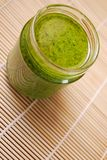 Pesto sauce. Fresh basil pesto, typical italian green sauce dressing for pasta Stock Photography