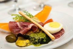 Pesto Sauce on Antipasti Plate Stock Photo