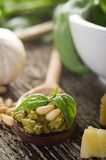 Pesto sauce with basil Royalty Free Stock Photography