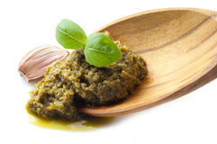 Pesto sauce with basil leaf Royalty Free Stock Photo
