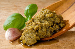 Pesto sauce with basil leaf Stock Photo