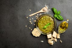 Pesto sauce in a bowl. Pesto sauce in a glass bowl stock photos