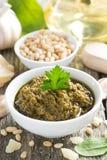Pesto sauce in a bowl, top view Royalty Free Stock Photos