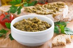 Pesto sauce and ciabatta Stock Photo