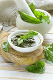 Pesto sauce of fresh green basil leaves Stock Image