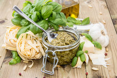 Pesto Sauce in a Glass Stock Photo