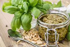 Pesto Sauce in a Glass Royalty Free Stock Images