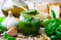 Pesto sauce in a glass jar Stock Image
