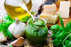 Pesto sauce in a glass jar Stock Photography