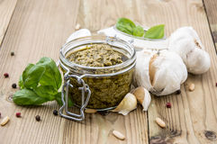 Pesto Sauce in a Glass Stock Images