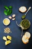 Pesto sauce and ingredient for pesto Royalty Free Stock Photo