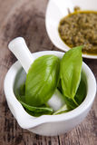 Pesto sauce ingredients. On wooden table Royalty Free Stock Photos
