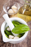 Pesto sauce ingredients. On wooden table Royalty Free Stock Image