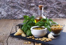 Pesto sauce and ingredients Stock Photography