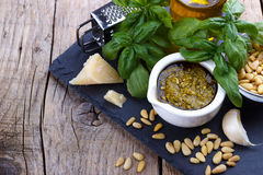 Pesto sauce and ingredients Stock Images