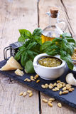 Pesto sauce and ingredients Royalty Free Stock Photo