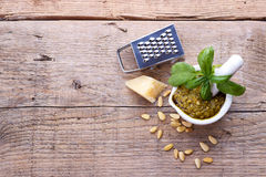 Pesto sauce and ingredients Stock Image