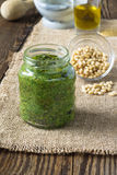 Pesto sauce and ingredients for pasta pesto Royalty Free Stock Photography